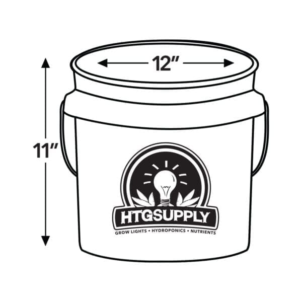 HTG Supply 3.5 Gallon Hydroponic Bucket Dimensions