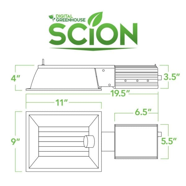 Scion 315w CMH Grow Light System Dimensions